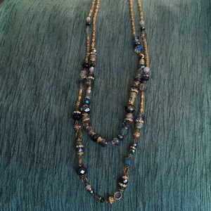Two Blue Crystal and Gold Bead Necklaces